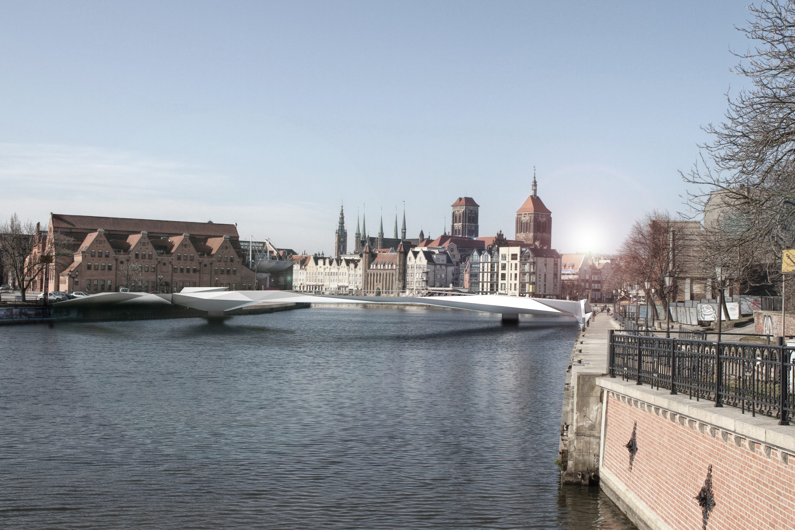 Projekt konkursowy na koncepcję kładki pieszej nad rzeką Motławą w Gdańsku